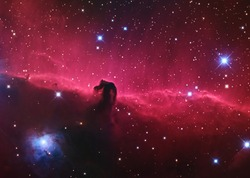 Horsehead Nebula or Barnard 33 one of the most beautiful dark nebula in the constellation Orion taken with CCD camera through medium focal length telescope