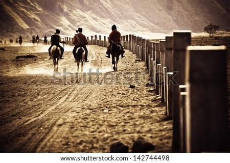 horsemen riding in Desert, going back to home, java indonesia