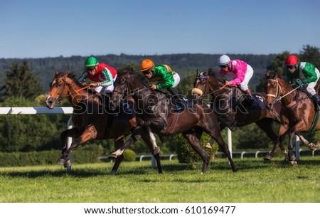 Horseraces in Europe, Czechia. Jockeys on their horses. #610169477
