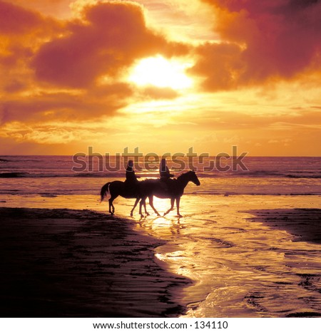Horseriding on the beach at sunset
