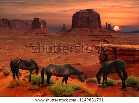 Horses at John Ford's Point Overlook in Monument Valley Tribal Park, Arizona USA #1149831791