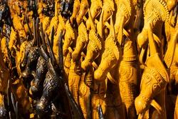 Horses, famous Terracotta animal dolls, made in Bishnupur, Bankura, West Bengal, for sale in Handicraft Fair in Kolkata.