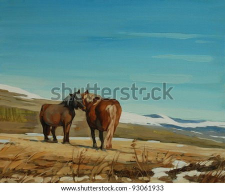 Horses in the French Pyrenees, painting by oil on a canvas, illustration