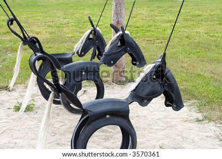 horses made of recycled tires