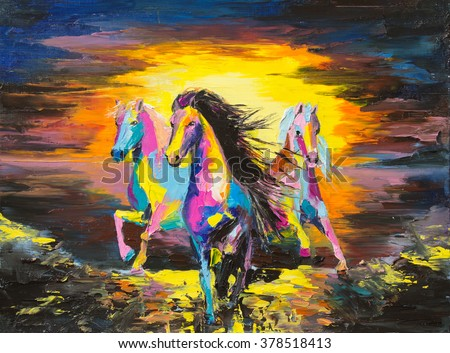 Horses on a sand Original oil painting on a paper