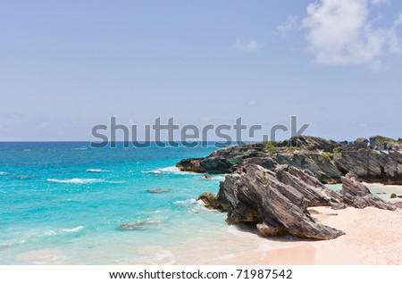 Horseshoe Bay Beach in Bermuda - stock photo