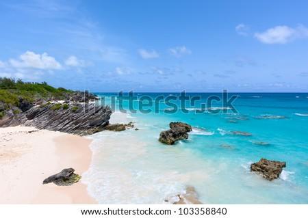 Horseshoe Bay in Bermuda on a Sunny Day.