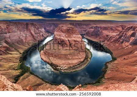 Horseshoe Bend, Colorado River. Grand Canyon, Page, Arizona. Sunset
