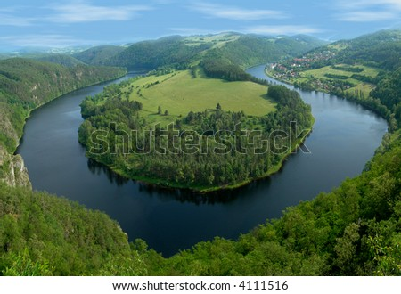Horseshoe bend of the river Vltava in the Czech republic