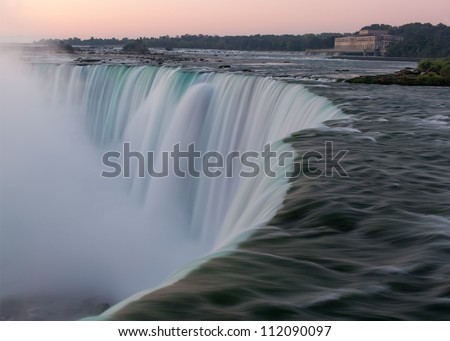 Horseshoe Falls as viewed from Table Rock in Queen Victoria Park in Niagara Falls, Ontario, Canada