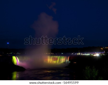 Horseshoe Falls illuminated at night with different colors