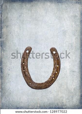 horseshoe, luck, background, grunge, brown, blue