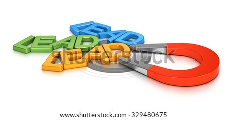 Horseshoe magnet attracting new leads in a target, 3d conceptual image for illustration of lead generation