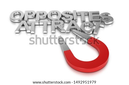 Horseshoe magnet attracting the words opposites attract over white background. 3D illustration.