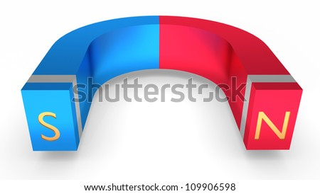Horseshoe magnet over white background, cg illustration