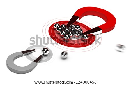 horseshoe magnet with many balls on a red target, plus one small grey dart, 3d render image over white background. Gain market share concept