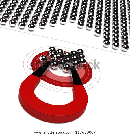 horseshoe magnet with metal ball and red target, symbol of market audience