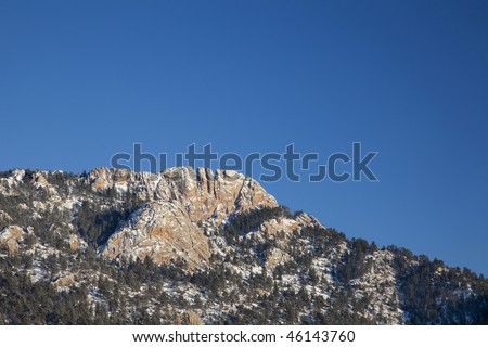 Horsetooth Rock, a landmark of Fort Collins, Colorado,  winter scenery, view from west