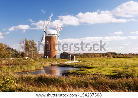 Horsey wind pump, Norfolk in United Kingdom.