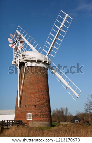 Horsey Windpump on the Norfolk Broads in southeast England. One of several use to keep water levels correct in the fens.