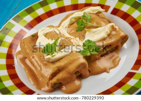 Hortobgyi palacsinta -  savoury Hungarian pancake, filled with meat,Hungarian cuisine Stock fotó ©