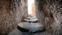 Hosap Kalesi (Castle) Van, Turkey. A staircase carved into the rock leading to the fortress. Eastern Turkey.