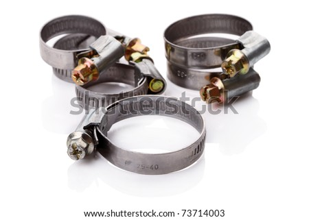 Hose Clamps of various sizes isolated on white background
