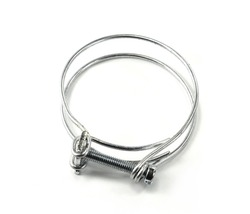 Hose clamps. Steel clamps isolated on white background. Screw clamp.