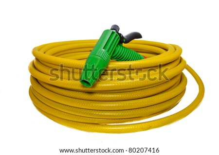 Hose for watering the garden with the spray. Isolated on white background