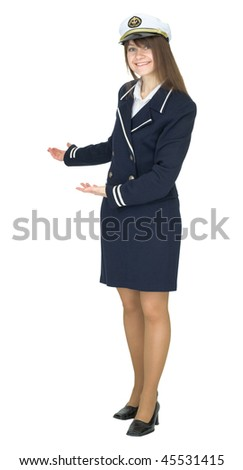 Hospitable woman in uniform sea captain, isolated on a white background