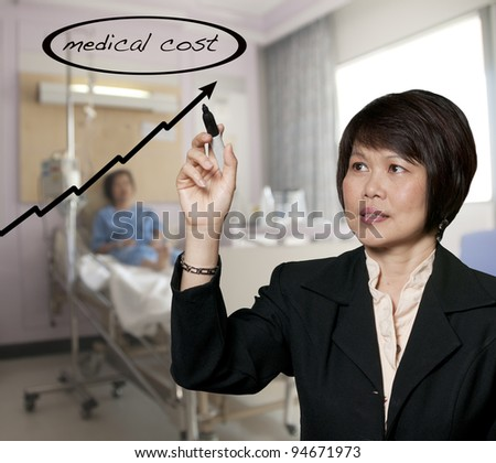 Hospital administrator illustrating the rising cost of medical care