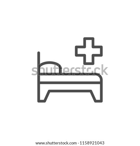 Hospital bed line icon isolated on white