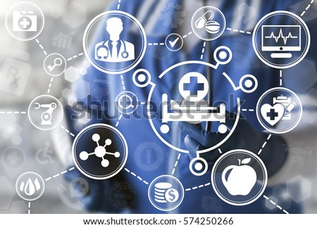 Hospital bed medicine healthcare support concept. Doctor touched stethoscope to medical beds icon on virtual screen. Treatment disease, insurance health care, clinics technology. Doss sign