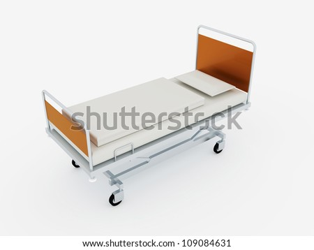 Hospital bed on white background