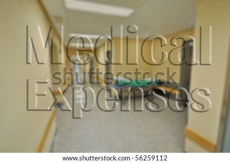 Hospital Blurred Image with Clear Text Medical Expenses