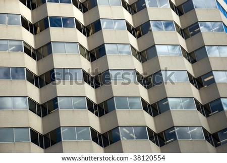 Hospital building exterior- a unique window pattern.