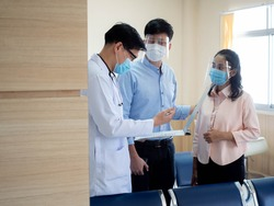 Hospital clinic laboratory doctor scientist nurse male wear mask safety inquire report patient treatment family man female health care medical protection covid-19 corona virus disease vaccine serum