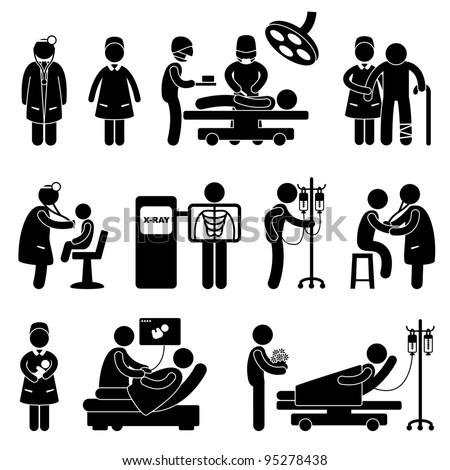 Hospital Clinic Medical Healthcare Doctor Nurse Icon Symbol Sign Pictogram - stock photo