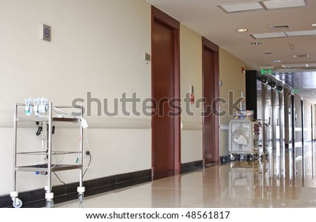 Hospital corridor with medical equipments