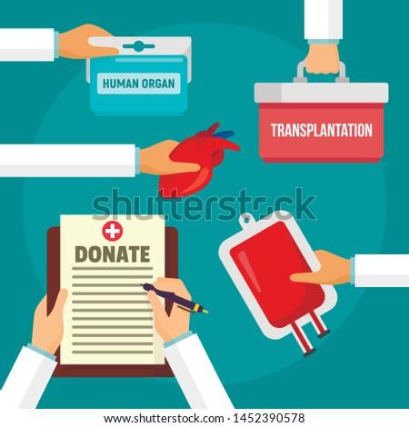 Hospital donate organs concept background. Flat illustration of hospital donate organs concept background for web design