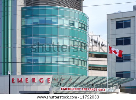 Hospital flying a Canadian flag