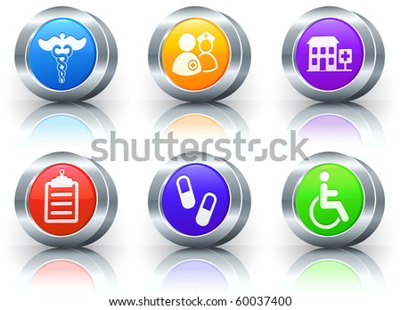 Hospital Icons on Reflective Button with Metallic Rim Collection Original Illustration