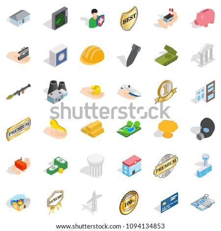 Hospital icons set. Isometric style of 36 hospital icons for web isolated on white background