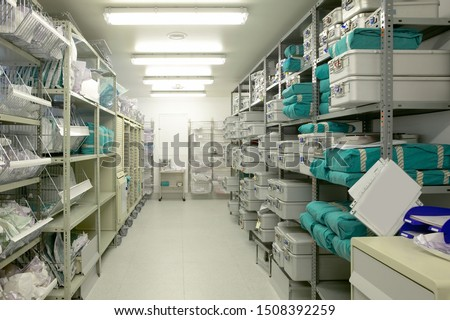 Hospital indoor storage room. Health center repository. Pharmaceutical