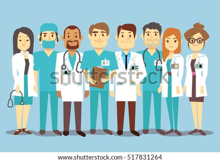 Hospital medical staff team doctors nurses surgeon flat Illustration of character doctor with stethoscope, reliable team of doctors