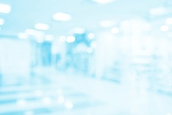 Hospital office blurry background. Business medical blue backdrop. Medicine commerce.