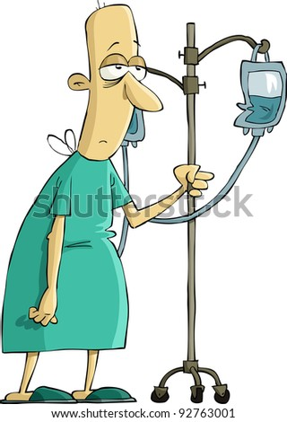 Hospital patient with a dropper, raster