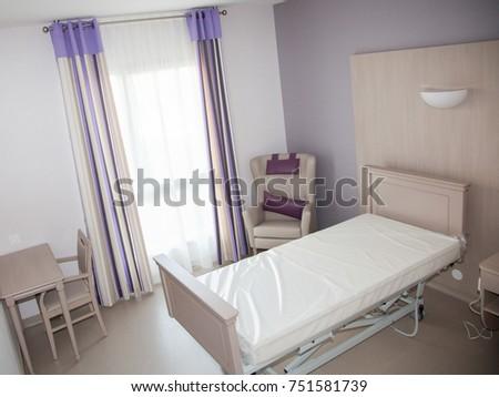Hospital room in a nursing home for the elderly