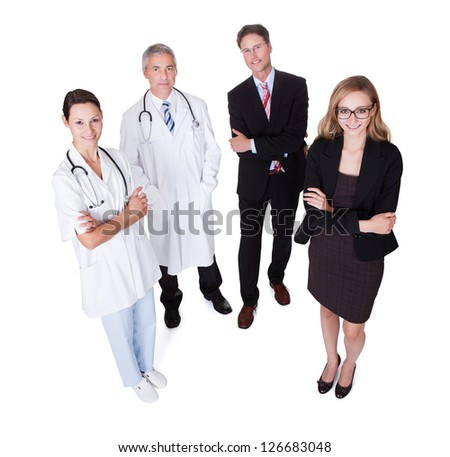 Hospital staff represented by both the medical profession in the form of a doctor and the business administrators