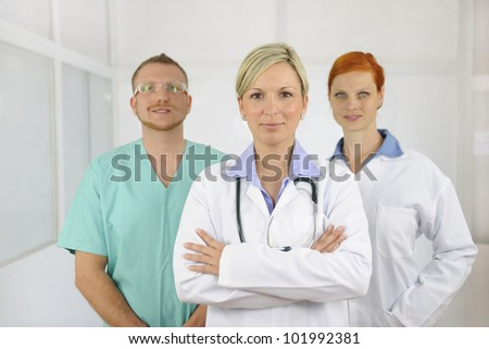 Hospital team: Group of doctors and surgeon